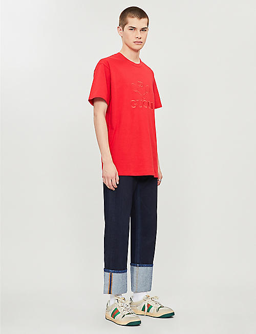 GUCCI Logo-embroidered oversized cotton-jersey T-shirt