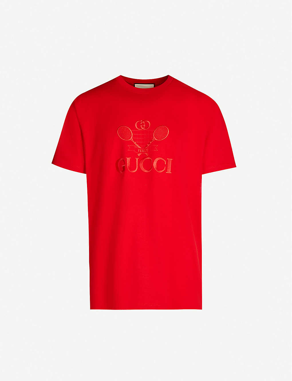 GUCCI: Logo-embroidered oversized cotton-jersey T-shirt