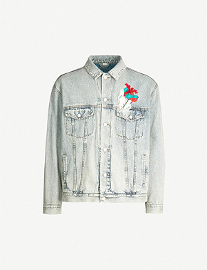 GUCCI Oversized faded denim jacket