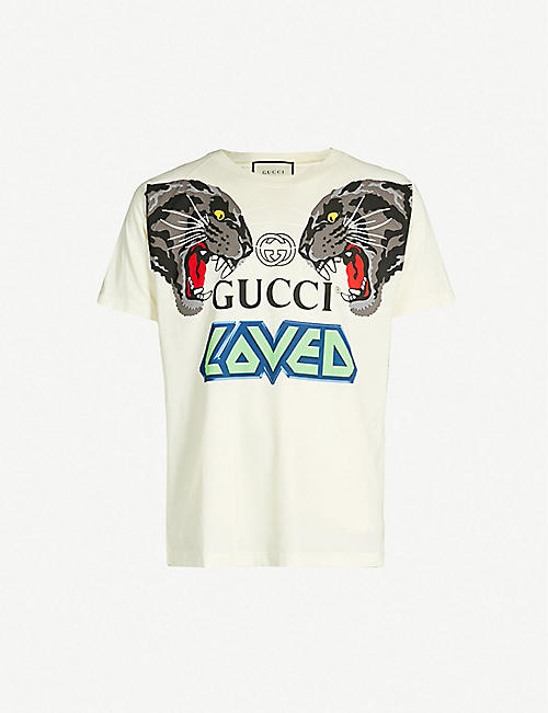 fda4e299420 GUCCI Slogan-print cotton-jersey T-shirt