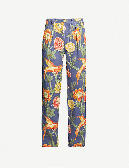 81bd093bd078 GUCCI Floral-print loose-fit wide linen trousers