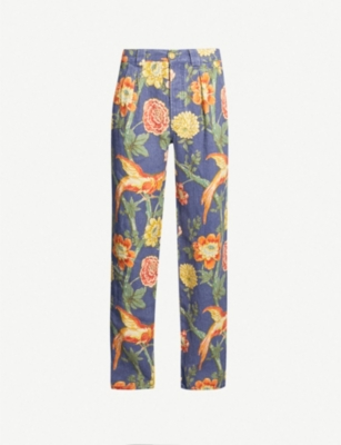 GUCCI Floral-print loose-fit wide linen trousers
