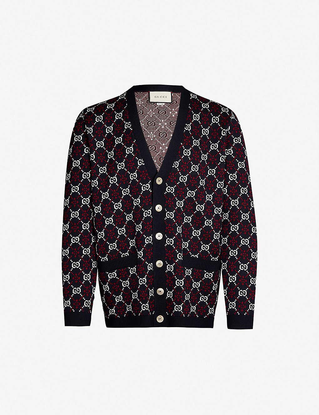 9649ebbe GUCCI - GG-motif cotton and wool-blend cardigan | Selfridges.com