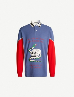 GUCCI Graphic-embroidered cotton rugby top