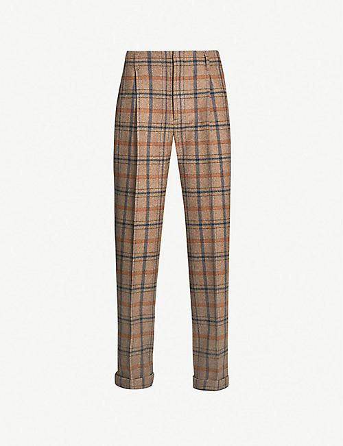 cdc8562863a3 GUCCI Checked wide-leg wool-blend trousers