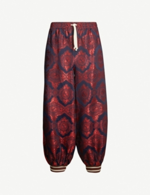GUCCI Checked and paisley-print woven jogging bottoms
