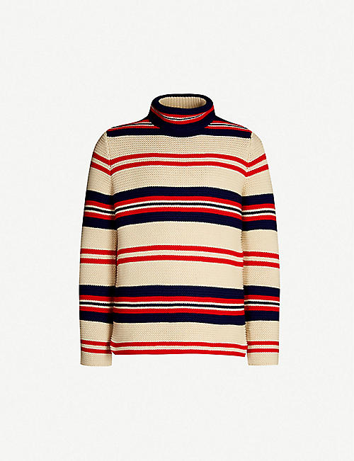 c59e3e1a6f8 GUCCI Striped turtleneck cotton and wool-blend jumper