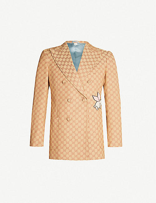a72360375fd GUCCI Logo-jacquard regular-fit cotton-blend blazer