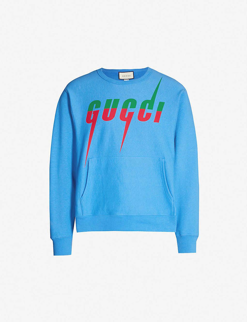 41396aaa0 GUCCI - Logo-print cotton-jersey sweatshirt | Selfridges.com