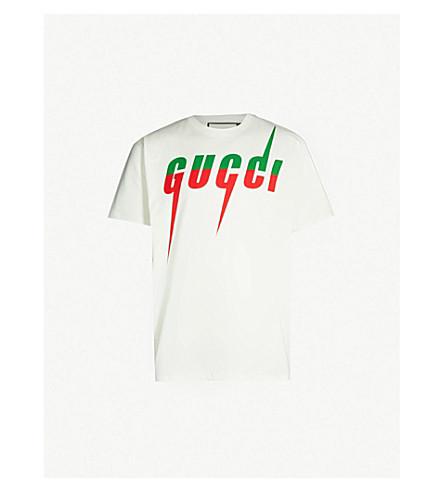 32f4fd04b2e55 GUCCI Logo-print cotton-jersey T-shirt (Green+red