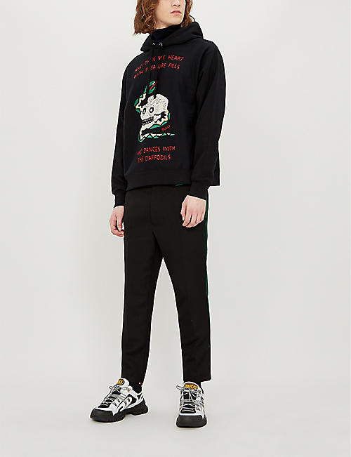 GUCCI Graphic-embroidered cotton-jersey hoody