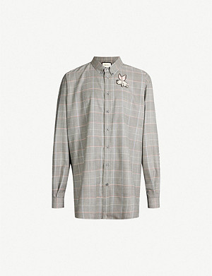 GUCCI Checked regular-fit cotton-crepe shirt