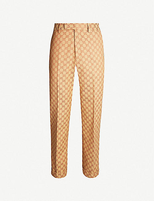 2cbdb18db51c GUCCI Logo-webbing cropped regular-fit straight cotton-blend trousers