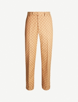 GUCCI Logo-webbing cropped regular-fit straight cotton-blend trousers