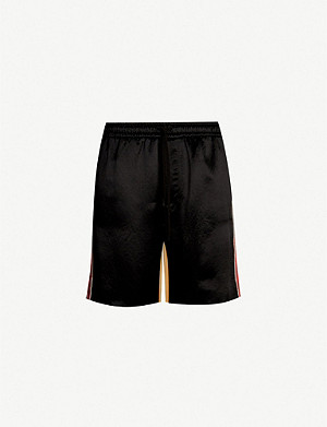 GUCCI Colour-blocked and graphic-print silk and satin shorts