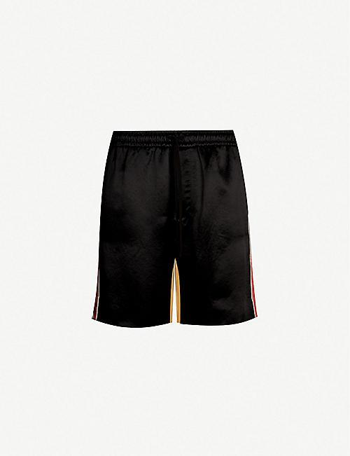 1ee57b0bc7468 GUCCI Colour-blocked and graphic-print silk and satin shorts