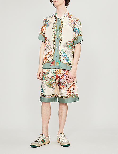 GUCCI Graphic-print oversized silk shirt