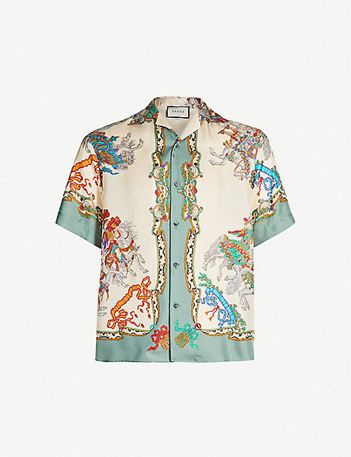 8a00d1bbbcf GUCCI Graphic-print oversized silk shirt