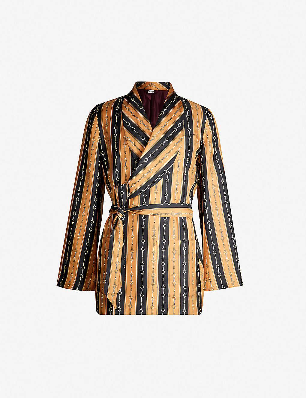 99bfb002f GUCCI - Striped belted silk-twill jacket | Selfridges.com