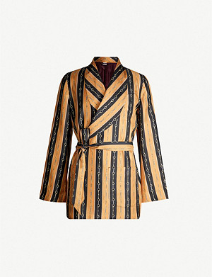 GUCCI Striped belted silk-twill jacket