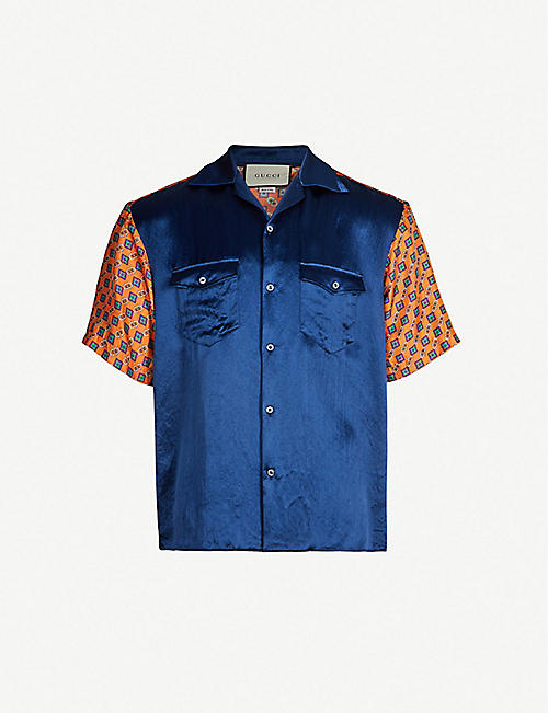 50fcc5a9ba78d GUCCI Graphic-print colour-blocked oversized silk-crepe and satin shirt