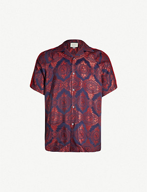 GUCCI Baroque-print oversized satin-crepe shirt