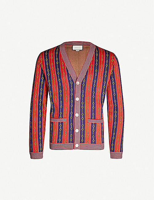 GUCCI Striped cotton, wool and cashmere-blend cardigan