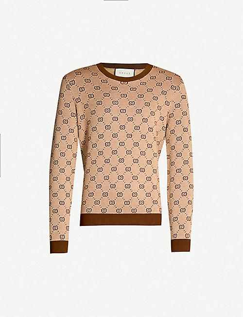a268ac4e1a17 GUCCI Logo wool and cotton-blend knit jumper