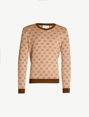 GUCCI Logo wool and cotton-blend knit jumper