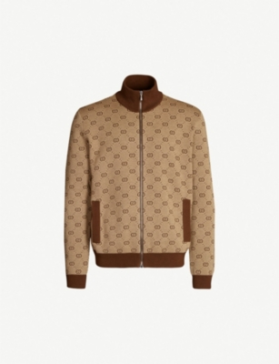 GUCCI Logo-intarsia wool and cotton-blend bomber jacket