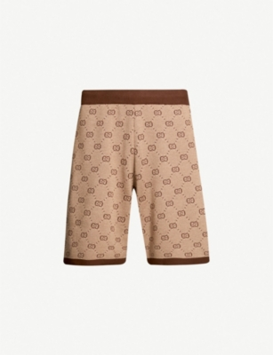 GUCCI Logo-print wool and cotton-blend shorts