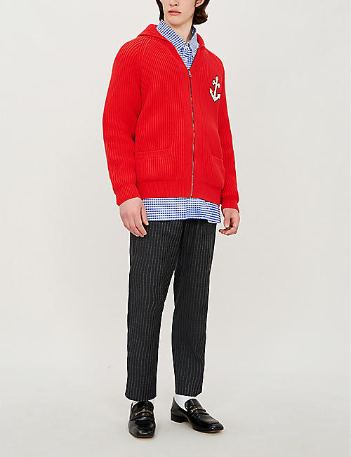 GUCCI Anchor-appliquéd cotton-blend cardigan