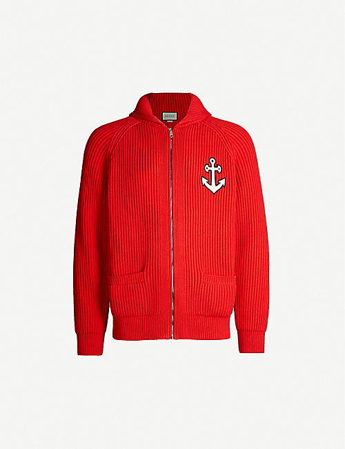 3d91434777b GUCCI Anchor-appliquéd cotton-blend cardigan