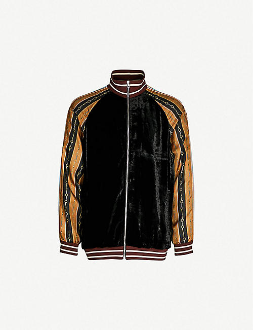 972fce428f7 GUCCI Contrast-sleeve velour jacket