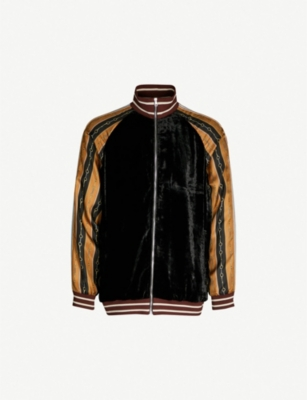 GUCCI Contrast-sleeve velour jacket