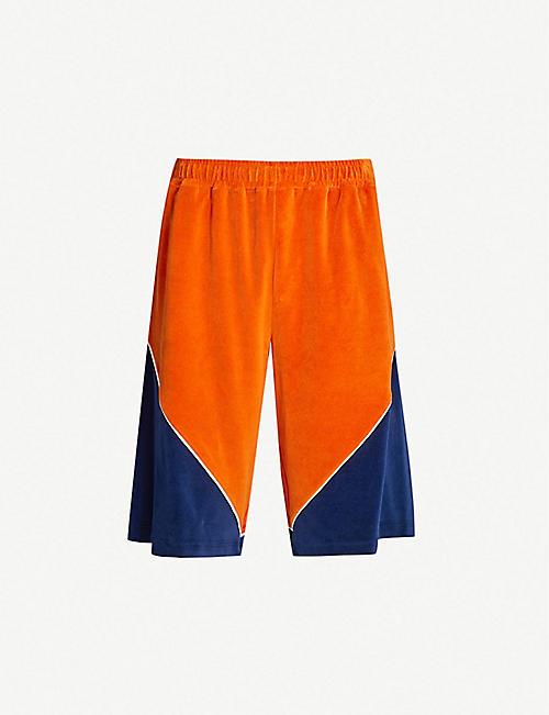 056986232fe GUCCI Chevron-panel cotton-blend shorts