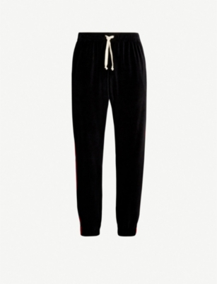 GUCCI Side-stripe velvet jogging bottoms