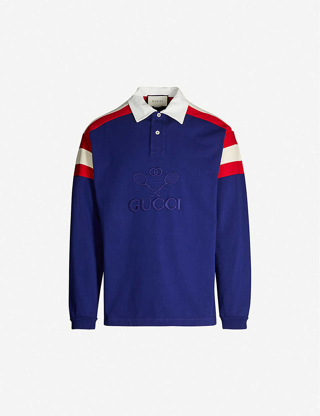 f56672f004 GUCCI - Logo-embroidered cotton-blend polo shirt | Selfridges.com