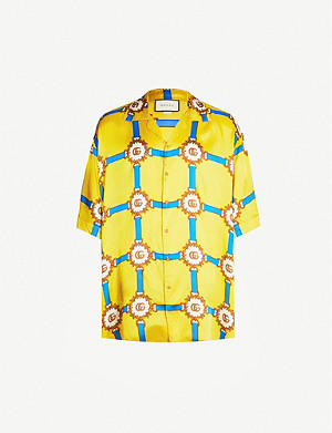 GUCCI Graphic-print oversized satin shirt