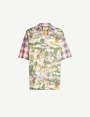 GUCCI Feline Delight relaxed-fit cotton shirt