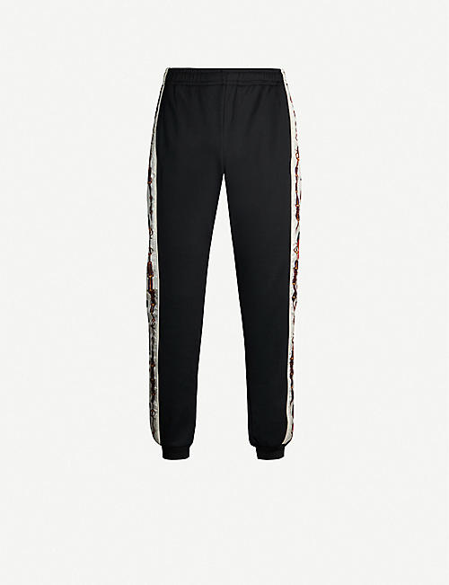 ae9fd6392227c GUCCI Side-stripe satin and stretch-jersey jogging bottoms