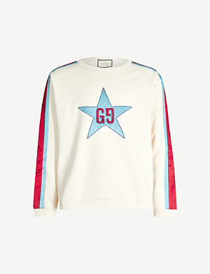 GUCCI Star-appliquéd cotton-jersey sweatshirt