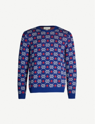 GUCCI Logo-intarsia cotton-knit jumper