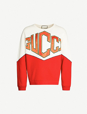 GUCCI Two-tone logo-print cotton-jersey sweatshirt