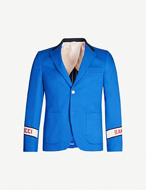 GUCCI Logo-embroidered regular-fit cotton-twill blazer