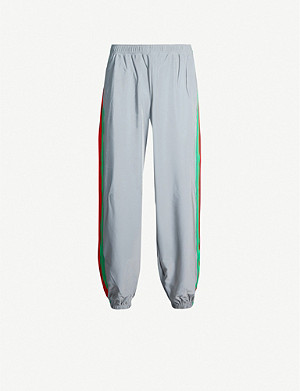 GUCCI Striped-sides iridescent stretch-jersey jogging bottoms