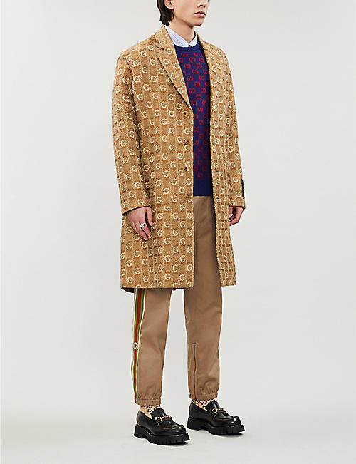 GUCCI Logo-print knitted wool coat