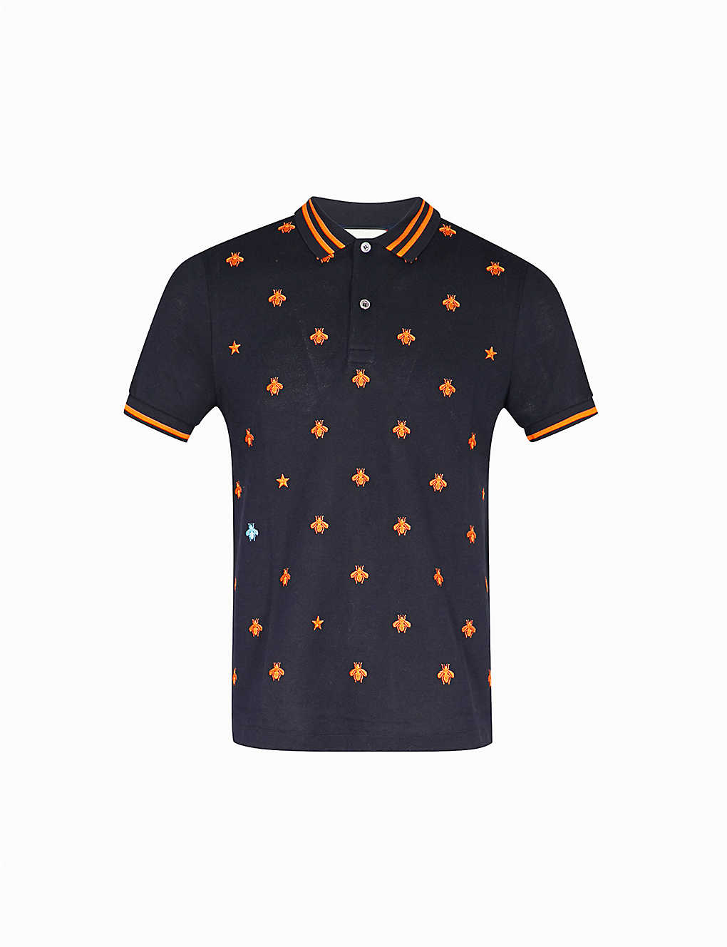 f22d08c9833 GUCCI - Bee-embroidered slim-fit stretch-cotton polo shirt ...