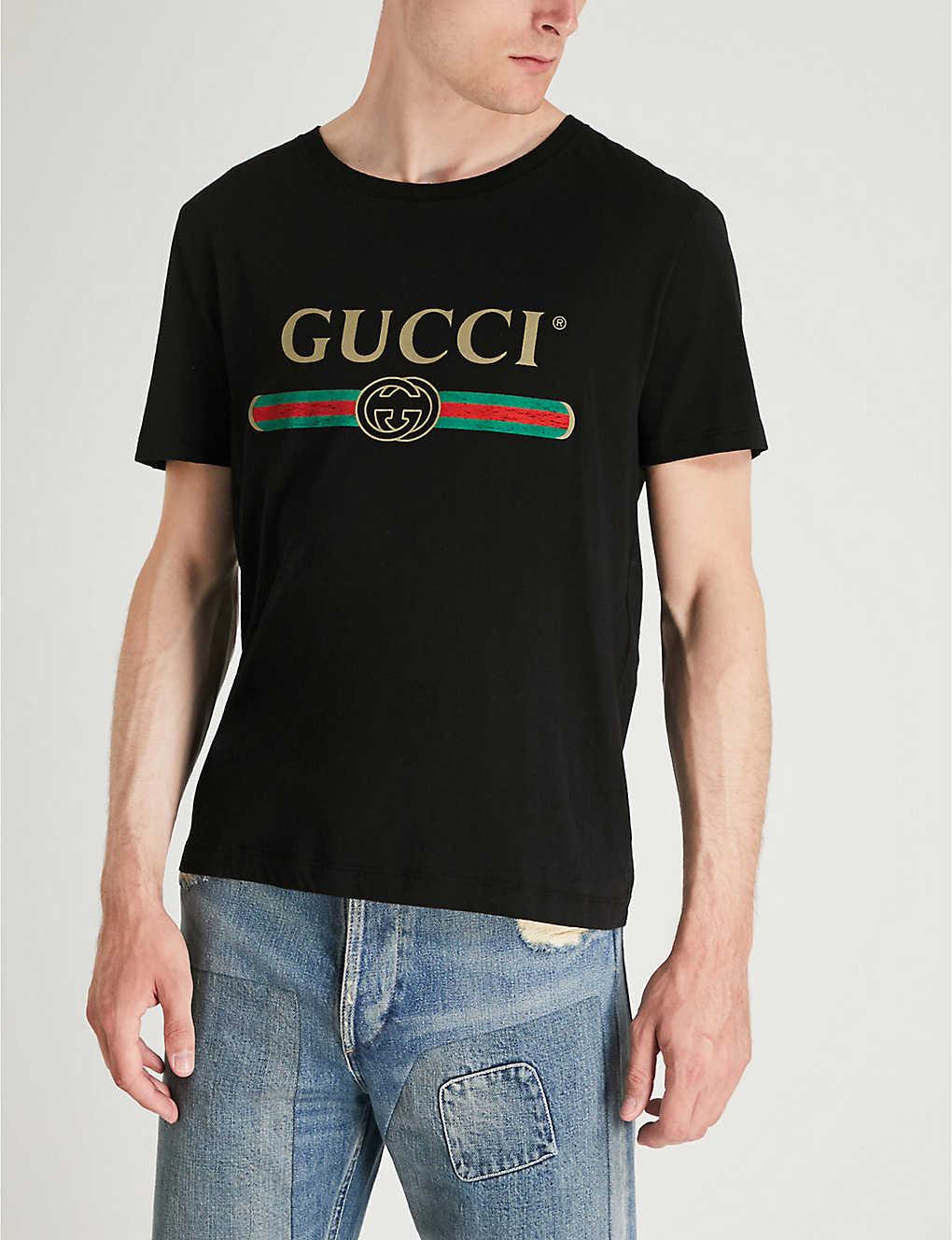 33ed55e4c61 GUCCI - Fake logo-print cotton-jersey T-shirt