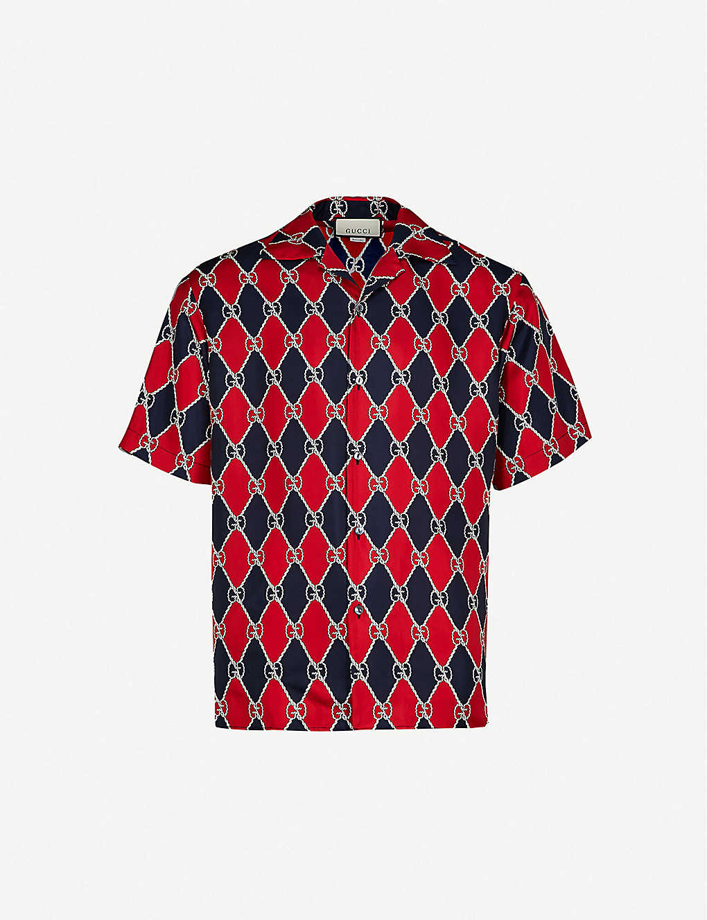 d8139fb7e GUCCI - Diamond-print silk-twill bowling shirt | Selfridges.com